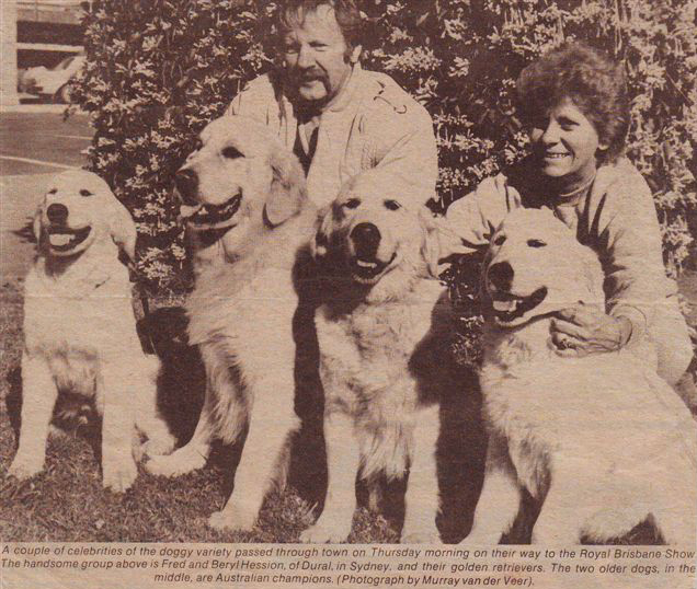 Fred and Beryl Hession of Dural, in Sydney, and their golden retrievers.